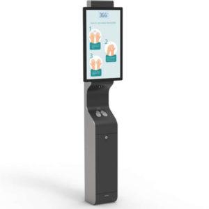 AeroCare Smart kiosk reklamowy do bezdotykowej dezynfekcji rąk płynem