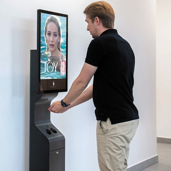 AeroCare Smart GSM kiosk reklamowy do bezdotykowej dezynfekcji rąk płynem