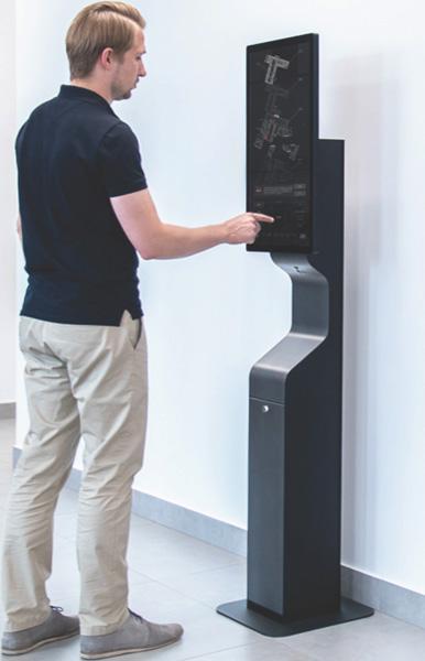 Punkt reklamowo informacyjny do bezdotykowej dezynfekcji rąk płynem